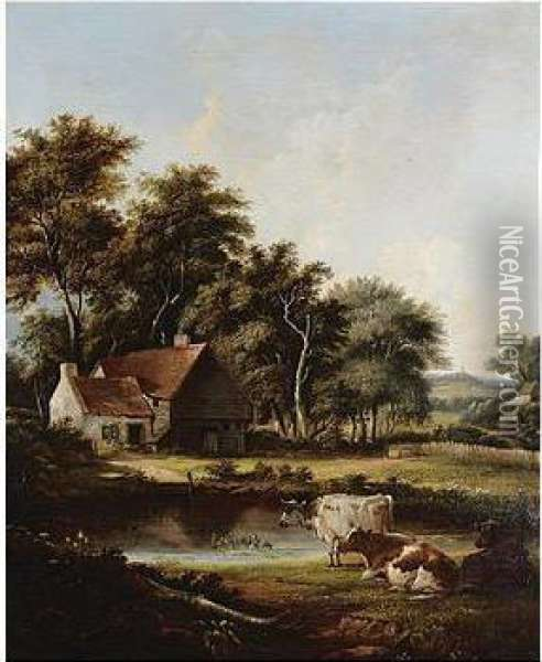 Wooded Landscape With Cattle, Signed And Dated 46, Oil On Canvas, 76 X 62.5 Cm.; 30 X 24 3/4 In Oil Painting - John Birch