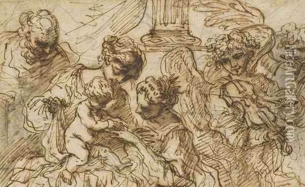 The Mystic Marriage Of Saint Catherine Black Chalk, Pen And Brown Ink, Brown And Grey Wash, Some Ink Galllosses, Unframed 4¾ X 7¾ Oil Painting - Bartolomeo Biscaino