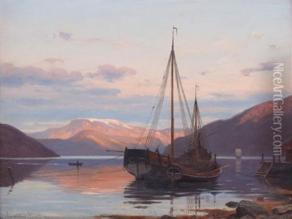 Aftenstemning Ved Balestrand Oil Painting - Amaldus Clarin Nielsen