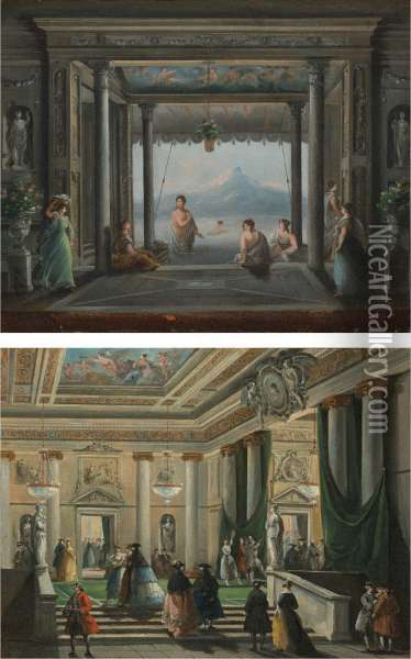 Figures In The Foyer Of La Fenice Theater, Venice Oil Painting - Giuseppe Bernardino Bison