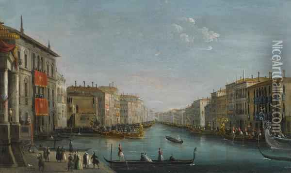Venice, A View Of The Grand Canal Oil Painting - Giuseppe Bernardino Bison