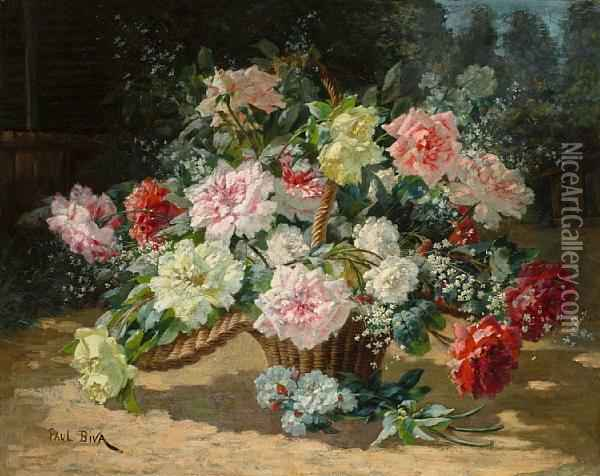 A Basket Of Roses Oil Painting - Paul Biva