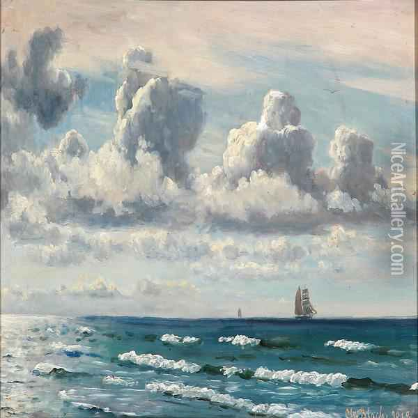 Summer Day With Breakers And Sailing Ships On The Sea Oil Painting - Christian Vigilius Blache