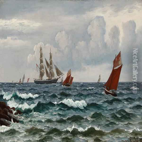 Boats And Ships Near A Coast Oil Painting - Christian Vigilius Blache