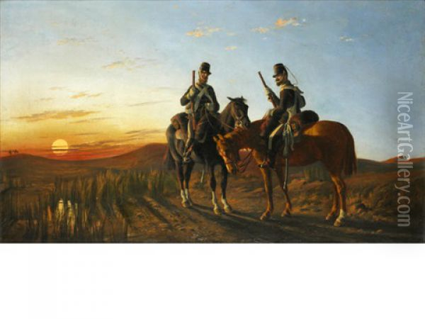 Vedettes In The Crimea, 13th Light Dragoons Oil Painting - Orlando Norie