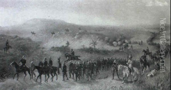 Third Battalion, King's Royal Rifle Corps In Zululand Oil Painting - Orlando Norie