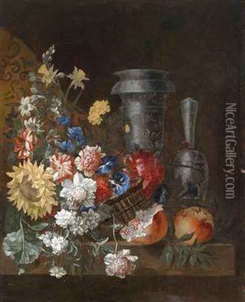 A Still Life Of Flowers And Fruit With Two Magnificent Blue And White Vessels Oil Painting - Jean Baptiste Belin de Fontenay