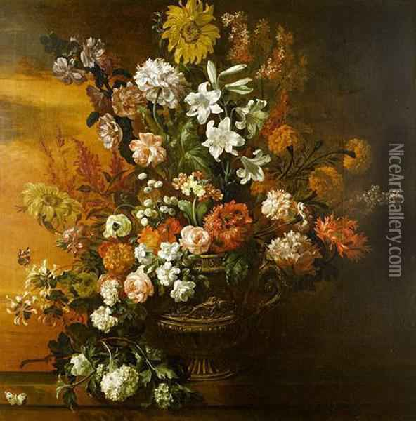 A Still Life Of Lilies, Roses, Sunflowers,poppies And Other Flowers In A Gilt Bronze Vase On A Stone Ledgewith A Red Admiral And A Cabbage White Butterfly Oil Painting - Jean Baptiste Belin de Fontenay