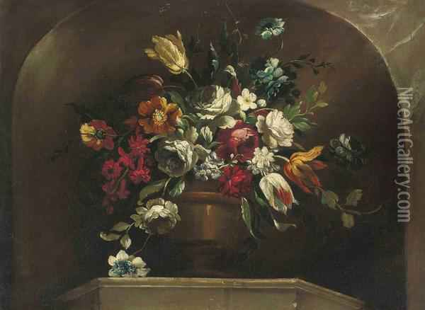 Roses, Tulips And Other Flowers In An Urn On A Ledge, In A Stoneniche Oil Painting - Jean Baptiste Belin de Fontenay