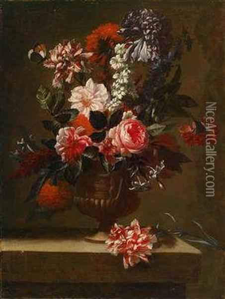 A Still Life Of Flowers Oil Painting - Jean Baptiste Belin de Fontenay