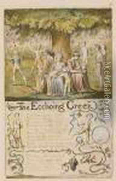 The Ecchoing Green: Both Plates Oil Painting - William Blake