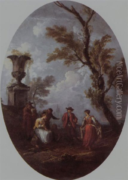 A Couple Dancing To The Music Of A Bagpipe Player In A Classical Landscape Oil Painting - Pietro Domenico Oliviero