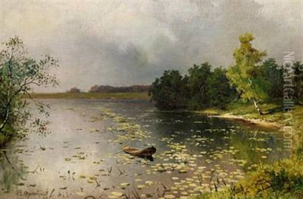View Of A River Before A Thunderstorm Oil Painting - Vladimir Donatovitch Orlovsky