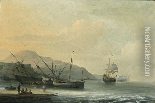 A Coastal Landscape With A Ship Careened For Caulking, Together With Other Sailing Boats And A Ship Firing A Salute Oil Painting - Jan Theunisz Blankof Blanckerhoff