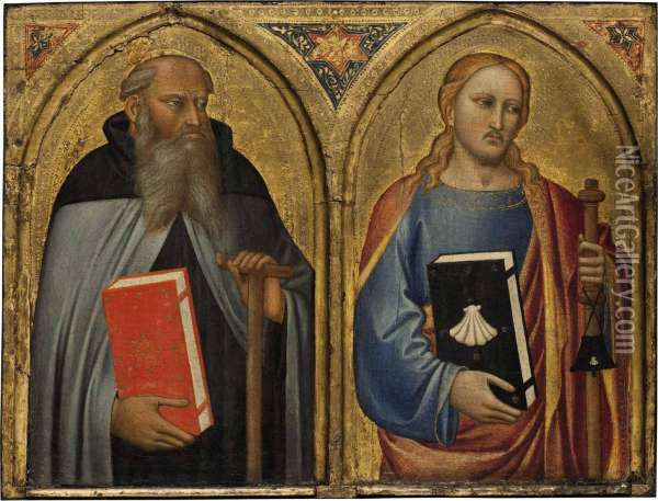 The Master Of The Misericordia Saint Anthony Abbot And Saint James The Greater Tempera And Gold On Panel 16 1/8 X 21¼ In Oil Painting - James Alfred Anthony Bland