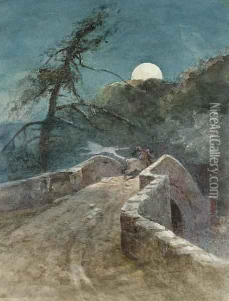 The Auld Brig O'doon; Alloway Kirk; And Mauchline Oil Painting - Charles Blatherwick