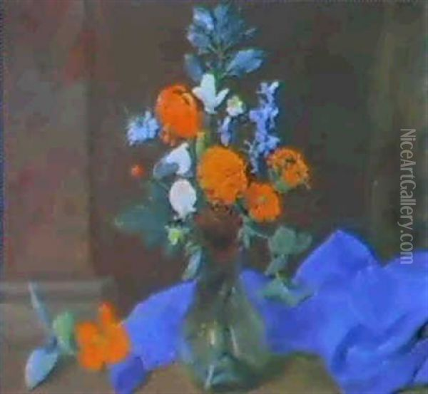 A Still Life Of Sweet Peas, Marigolds, Lichnis, Love-in-a-  Mist, Violas And Other Flowers In A Glass Vase... Oil Painting - Otto Didrik Ottesen