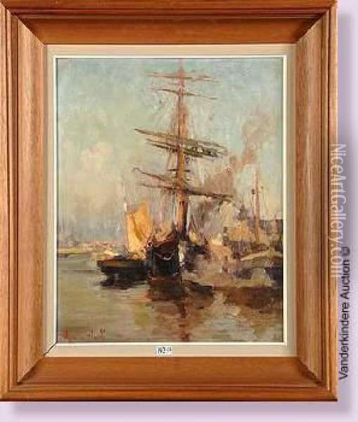 Voiliers Au Port Oil Painting - Maurice Blieck
