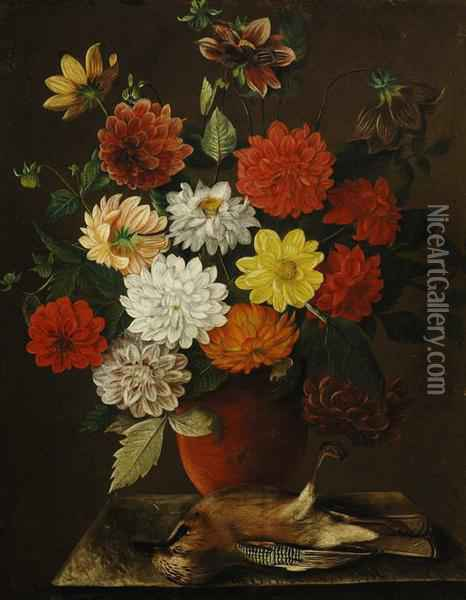 Flower Still Life With A Eurasian Jay Oil Painting - Arnoldus Bloemers