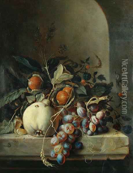 Chestnuts, A Pear, Grapes And Blackberries Ona Stone Ledge Before A Niche Oil Painting - Arnoldus Bloemers