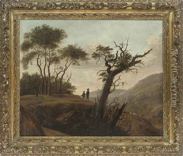 An Italianate Wooded Landscape With Travellers On A Track Oil Painting - Abraham Blommaert