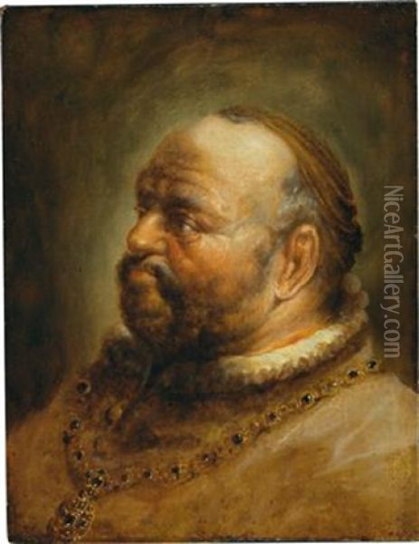 Portrait Of A Bearded Man Oil Painting - Christoph Paudiss
