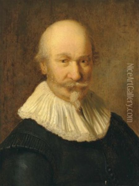 Portrait Of A Gentleman, Bust-length Oil Painting - Christoph Paudiss
