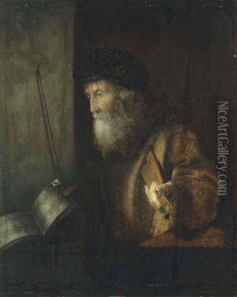 A Musician Oil Painting - Christoph Paudiss