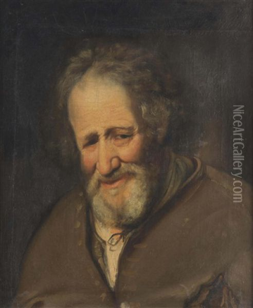 A Tronie Of An Old Man Laughing Oil Painting - Christoph Paudiss
