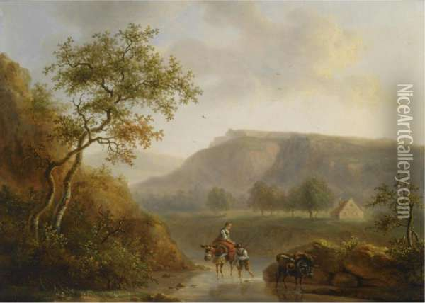 Travellers In A River Landscape Oil Painting - Willem Bodemann