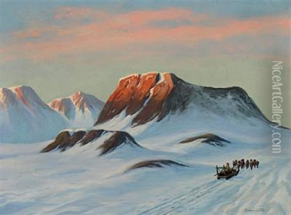Greenlandic Landscape With Two Dogsleds Oil Painting - Emanuel A. Petersen