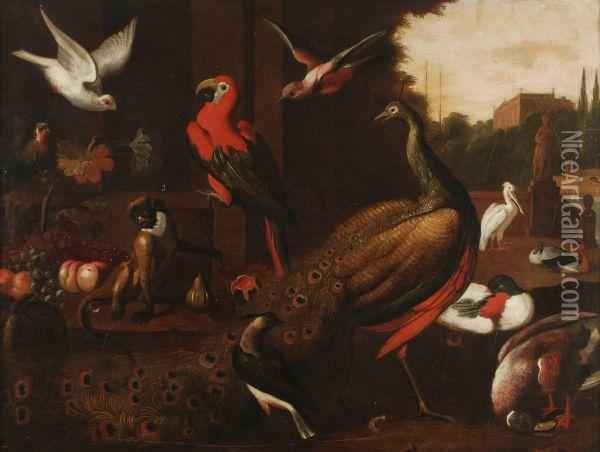 A Concert Of Birds With A Monkey Oil Painting - Jakob Bogdani Eperjes C