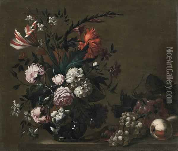 Roses, A Parrot Tulip, Chrysanthemums And Other Flowers In A Glass Vase Oil Painting - Jakob Bogdani Eperjes C