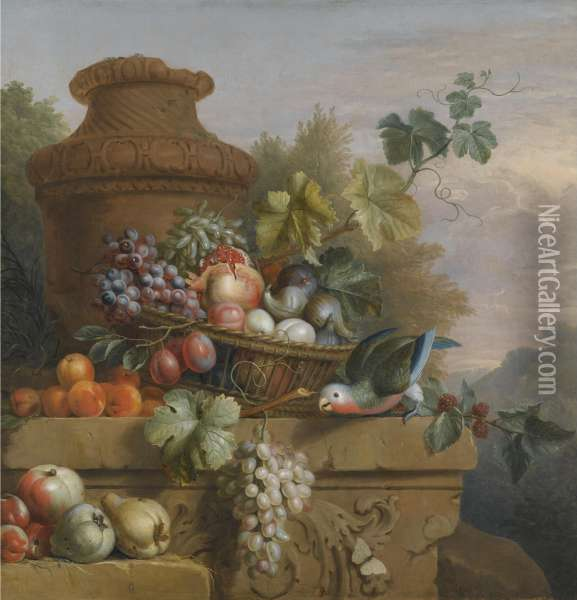 Still Life With A Basket Of Fruit, A Parrot And An Urn On A Carved Stone Ledge Oil Painting - Jakob Bogdani Eperjes C