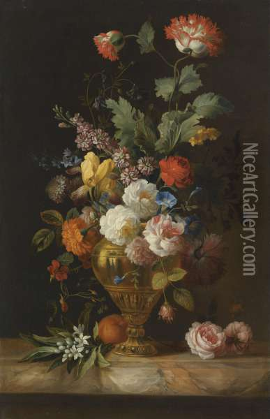 A Still Life Of Roses And Other Flowers In A Metal Vase On A Marble Ledge Oil Painting - Jakob Bogdani Eperjes C