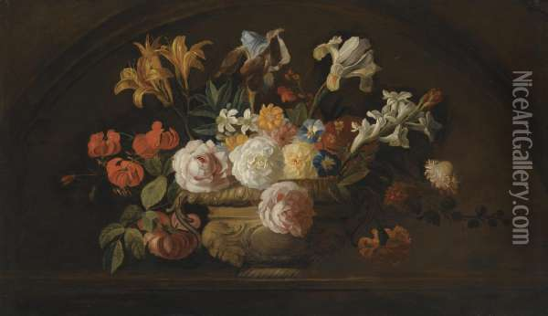 Still Life Of Flowers In A Vase On A Marble Shelf Oil Painting - Jakob Bogdani Eperjes C