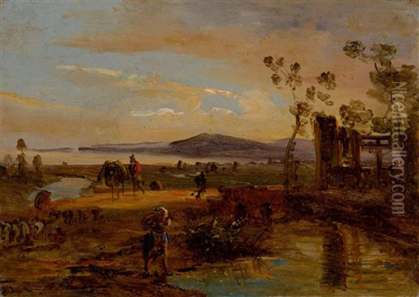 Farmers And Animals In A Landscape Near Naples Oil Painting - Anton Sminck Pitloo