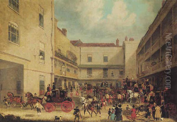 Royal Mails Preparing To Start For The West Of England In The Yard Of The Swan With Two Necks Oil Painting - James Pollard