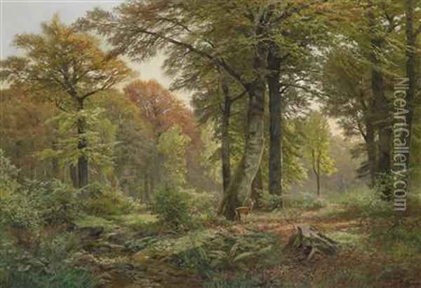 Small Woodland Clearing With Roe Deer Oil Painting - Heinrich Bohmer