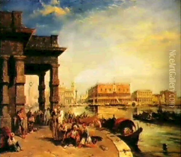 Looking To St. Marks's Square From The Dogana Oil Painting - Edward Pritchett