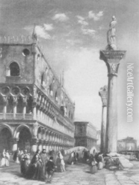 Figures By The Doge's Palace, Venice Oil Painting - Edward Pritchett