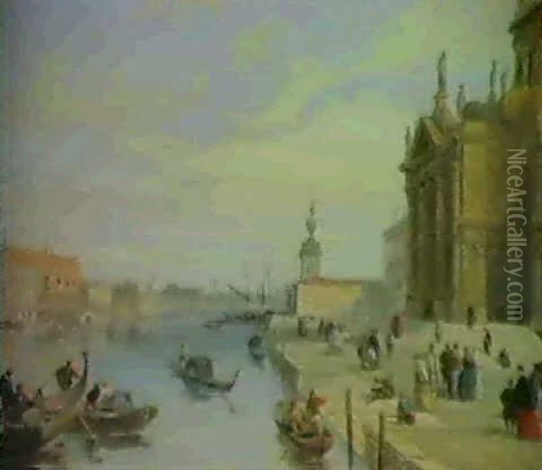 View Of The Doge's Palace From The Steps Of The Church      Of Santa Maria; Distant View Of The Doge's Palace, Venice Oil Painting - Edward Pritchett
