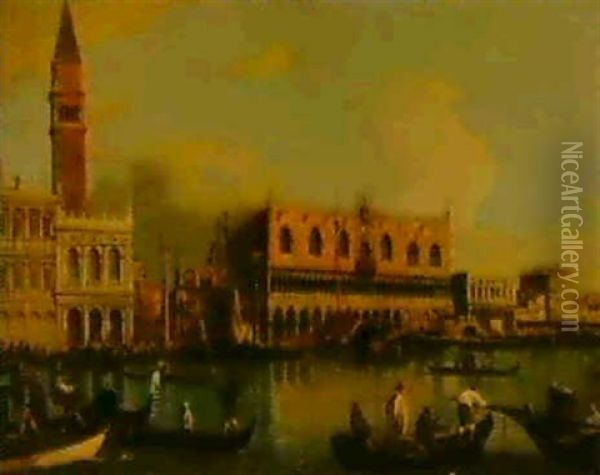 The Bacino Di San Marco, The Doge's Palace, The Piazzetta   And The Marciana Library Beyond Oil Painting - Edward Pritchett
