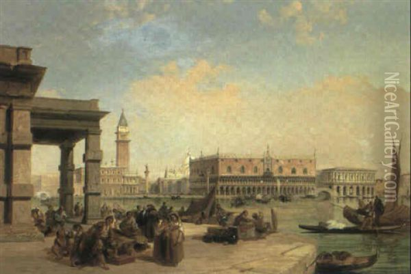 The Doge's Palace And Piazzetta From The Customs House,     Venice Oil Painting - Edward Pritchett