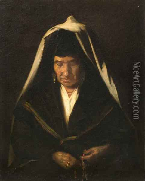Old Woman With Rosary Beads Oil Painting - Francois Bonvin