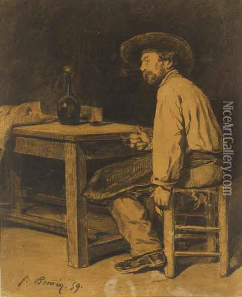 A Man Sitting At A Table Oil Painting - Francois Bonvin