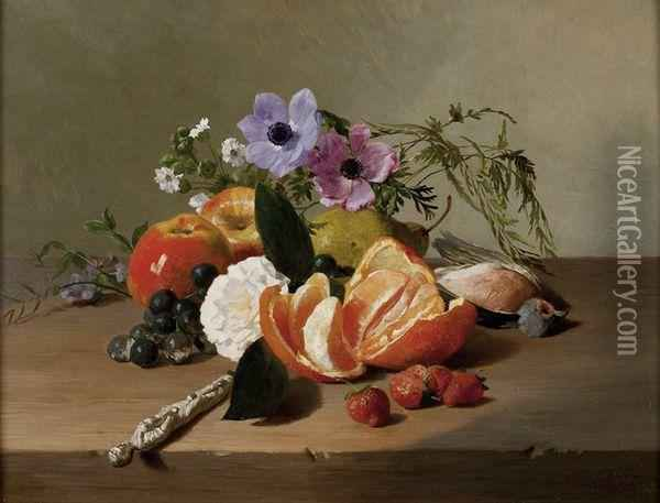 Nature Morte Aux Fleurset Fruits Oil Painting - Francois Bonvin