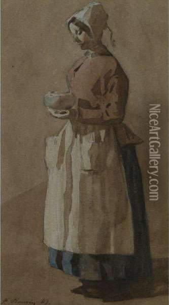 A Kitchen Maid Oil Painting - Francois Bonvin