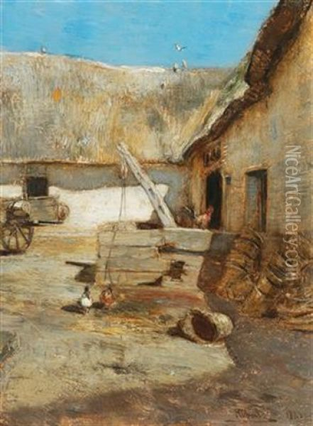 Chickens In A Farmhouse Courtyard Oil Painting - Rudolf Ribarz