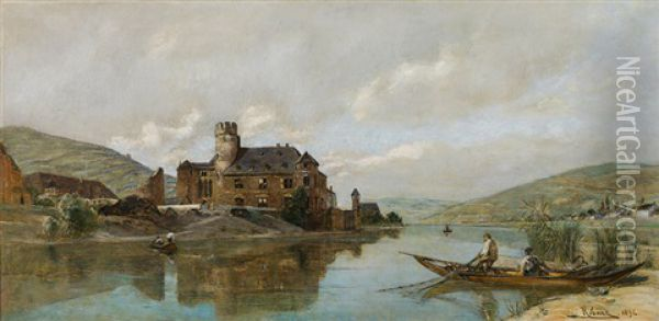 The Gondorf Castle On The River Mosel Oil Painting - Rudolf Ribarz